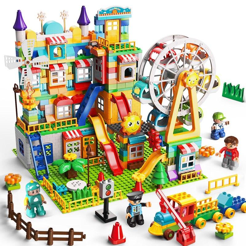 Big Size Building Blocks Amusement Park DIY Compatible Duploed Brick Assembly Bricks Construction Building Toys For Children